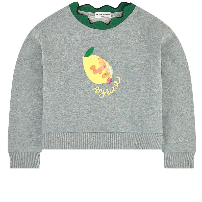 Girls grey sweatshirt with a fun lemon motif at the front completed with a wavy green collar.