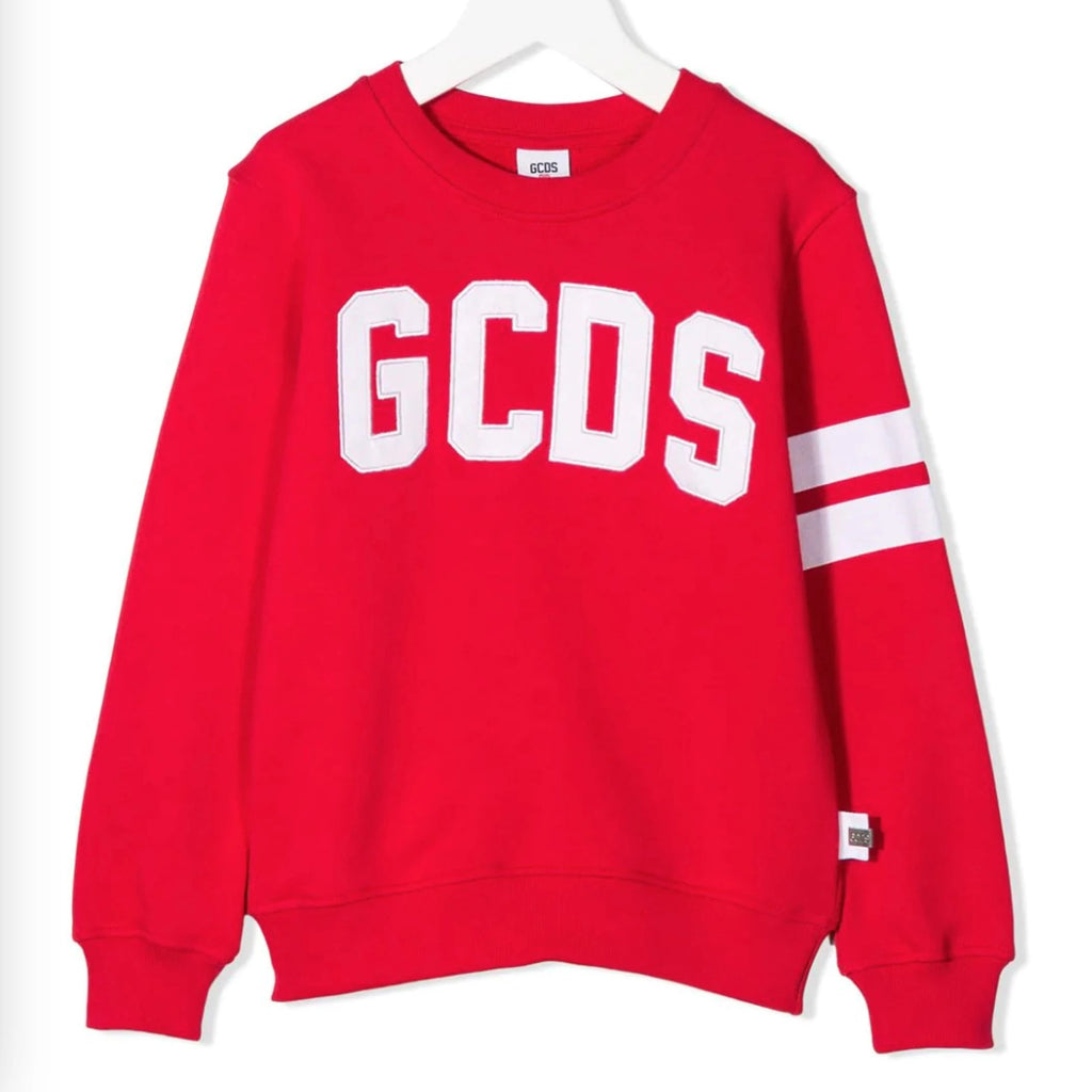 Red Logo-Print Striped Sweatshirt
