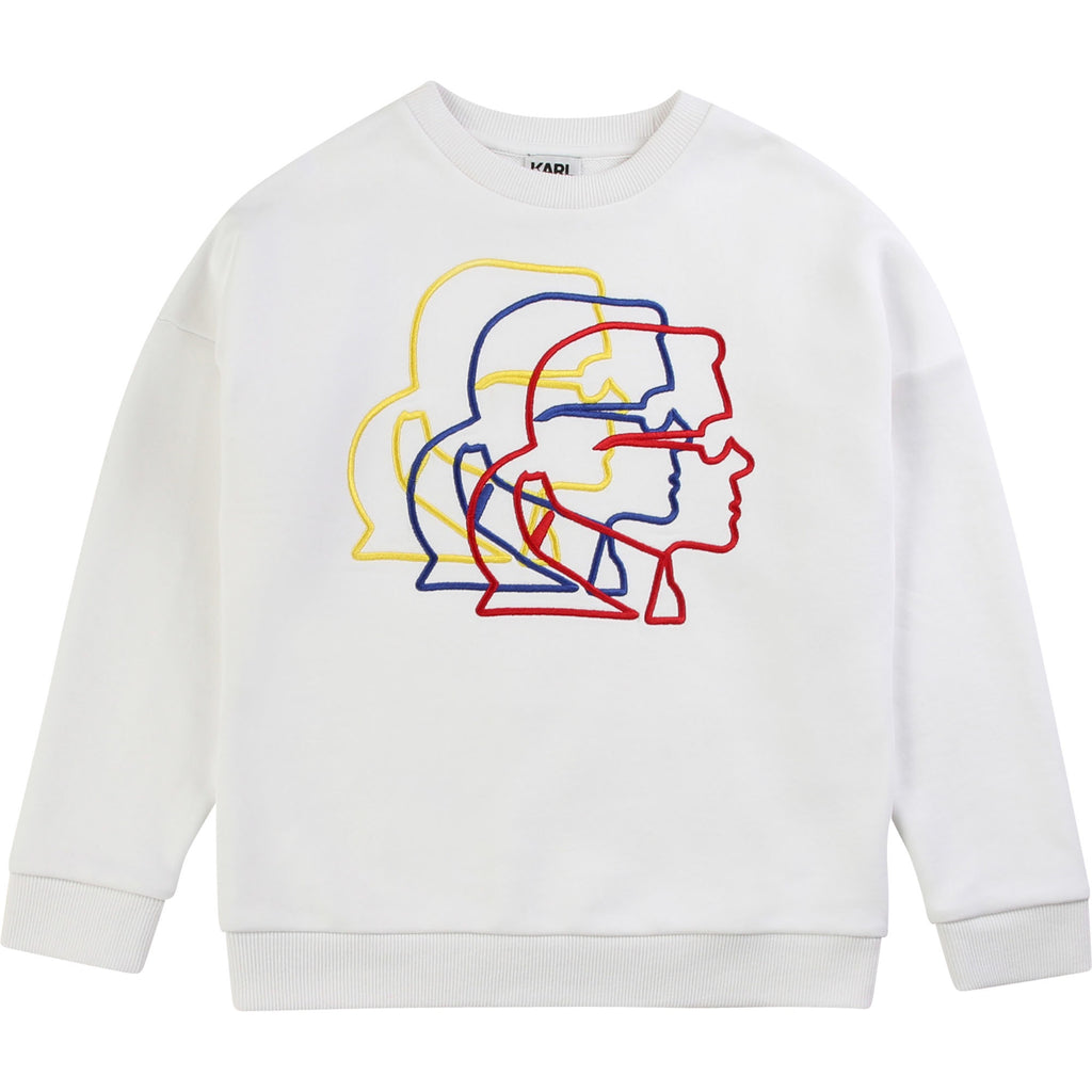 White cotton french terry sweatshirt. Eye-catching embroidered silhouette of Karl Lagerfeld's profile layered in yellow, blue, and red. Karl Lagerfeld was a fashion designer and creative director of Fendi and Chanel.