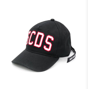Black cotton embroidered logo cap from GCDS kids featuring an embroidered logo to the front and an adjustable fit.