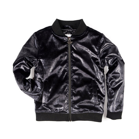 Appaman Black Lux Bomber Jacket, Luxurious and shimmery cushy velvet like fabric shell that is both cosy and glam!