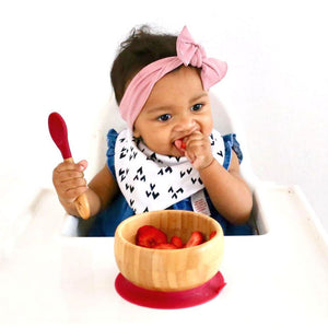 Baby bamboo red suction bowl with bamboo spoon. Organic dining ware for baby or toddler.