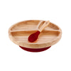 Toddler's bamboo red divided suction plate with bamboo spoon. Organic dining ware for baby or toddler.