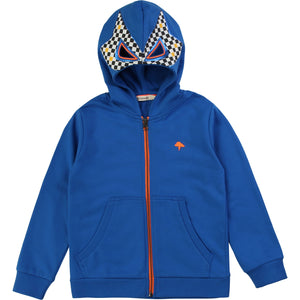 French terry jacket with cheeky luchador inspired embroidered checked hood with holes for the eyes. Distinctive orange logo on the chest.