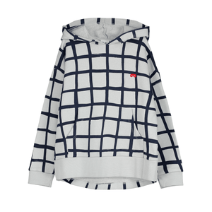 Grid Hoodie Sweatshirt in Quiet Grey