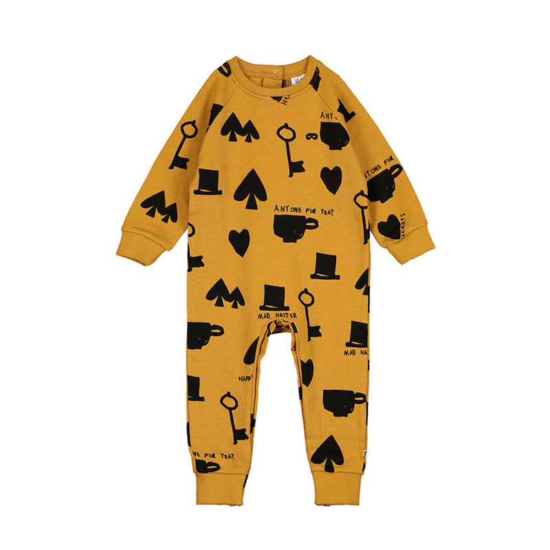 Printed Shapes Mustard Baby Romper