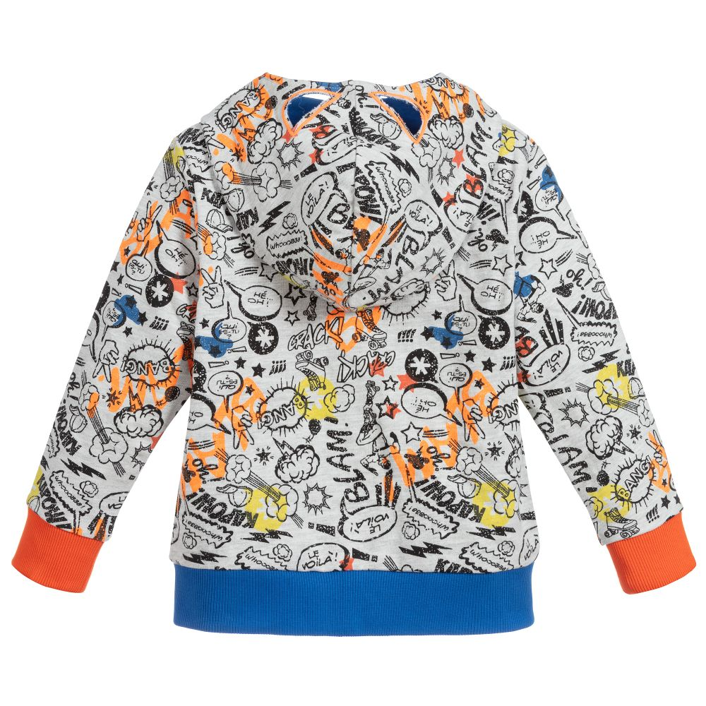 Cotton french terry hooded jacket with a retro multicolour superhero comic allover print. The attached hood has a mask effect with cut-out eyes!
