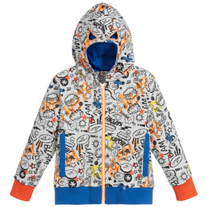 Cotton french terry hooded jacket with a multicolour superhero comic allover print. The attached hood has a mask effect with cut-out eyes!