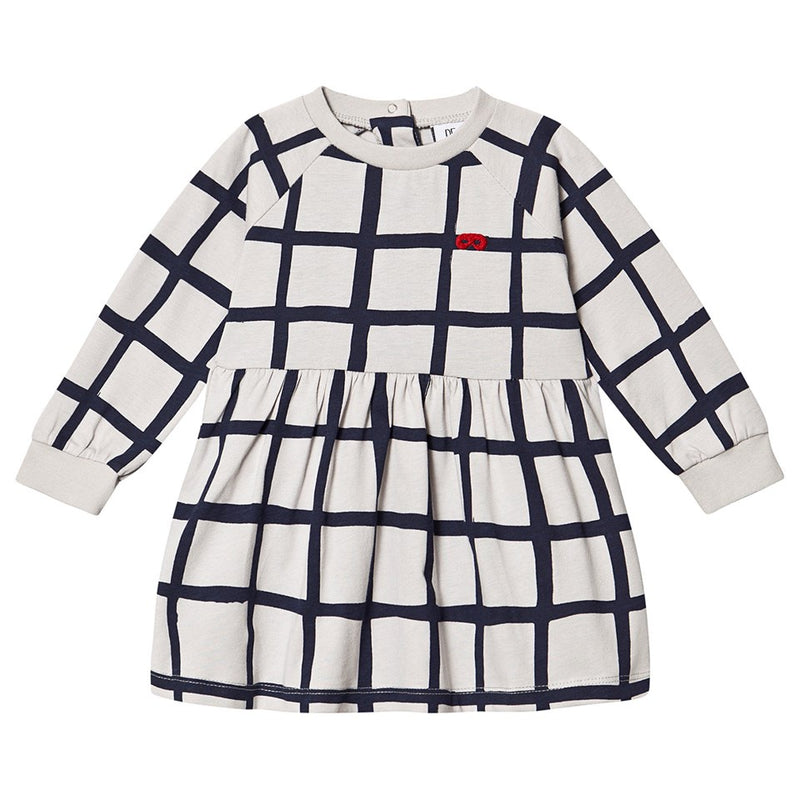 Navy Grid Raglan Baby Dress