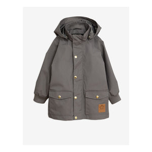 Class grey all-round jacket with distinct gold buttons and a faux leather panda patch matching the zip slider.
