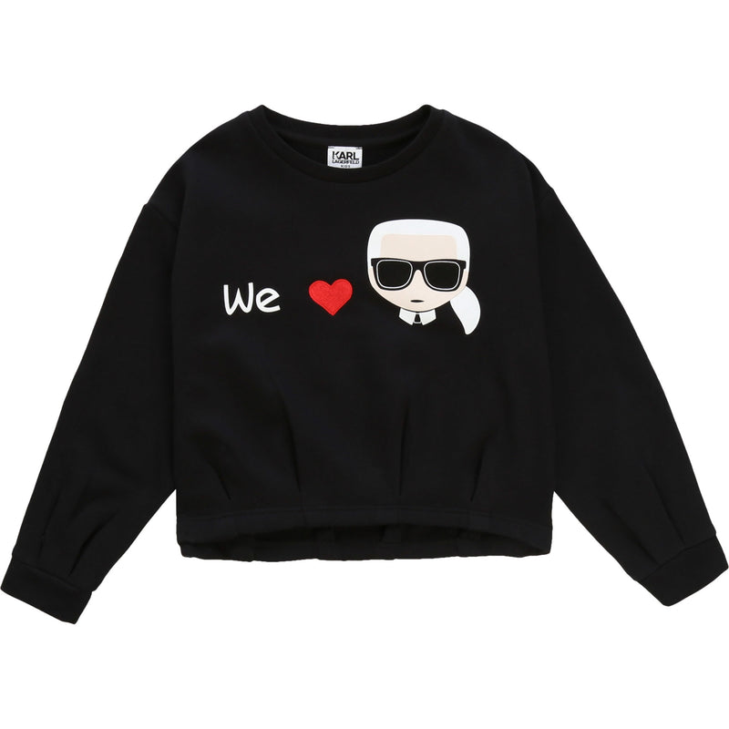 Cotton polyester french terry sweatshirt. Karl character illustration with an embroidered red heart at the front. Small white logo printed at the back.