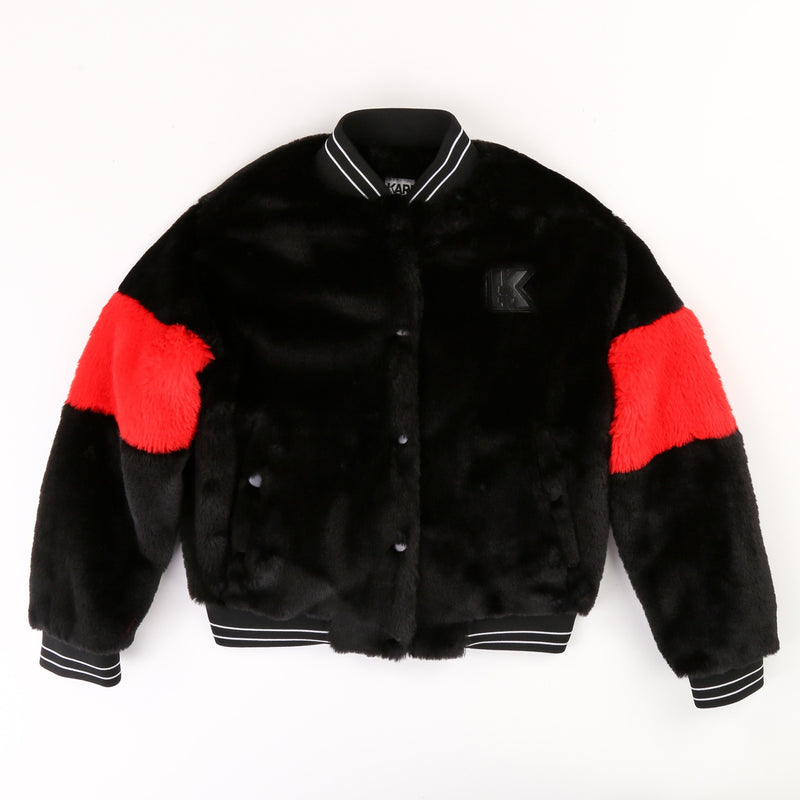 Black False Fur Bomber Jacket