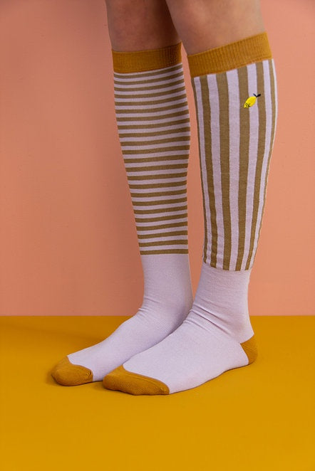 Knee High Socks Stripes Violet