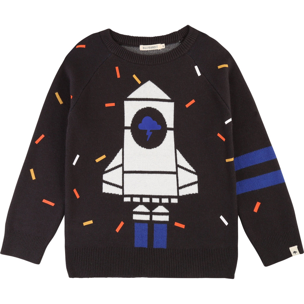 A classic lightweight knit sweater. With a cool white and blue rocketship with orange and white accents. Blast off! Designed by Billybandit.