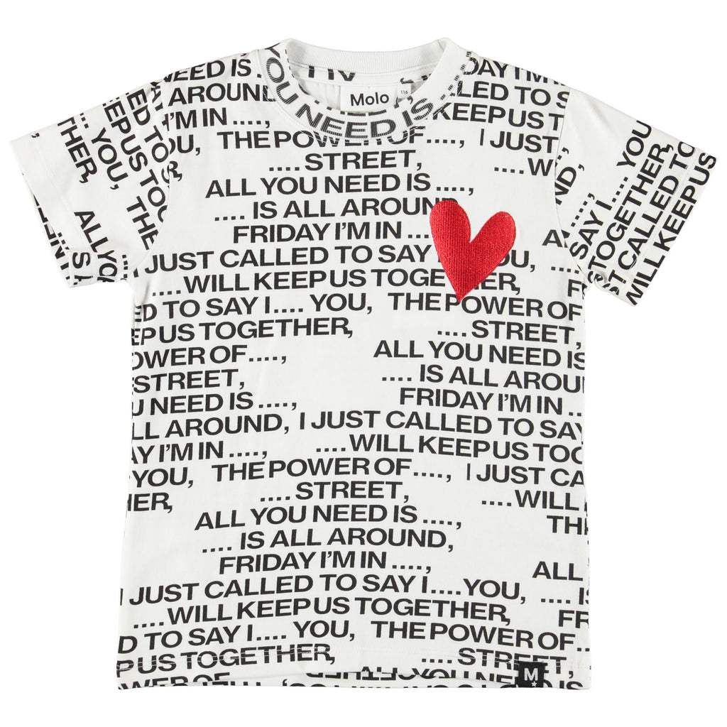 Molo T-shirt with love song lyrical print & design.