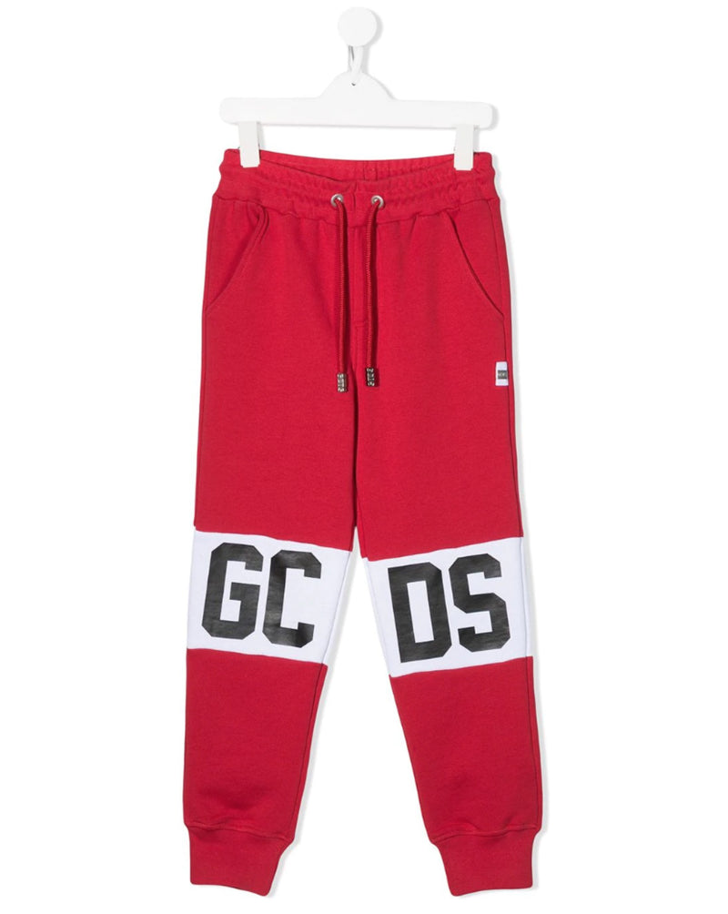 Red Contrast Logo Track Sweatpants