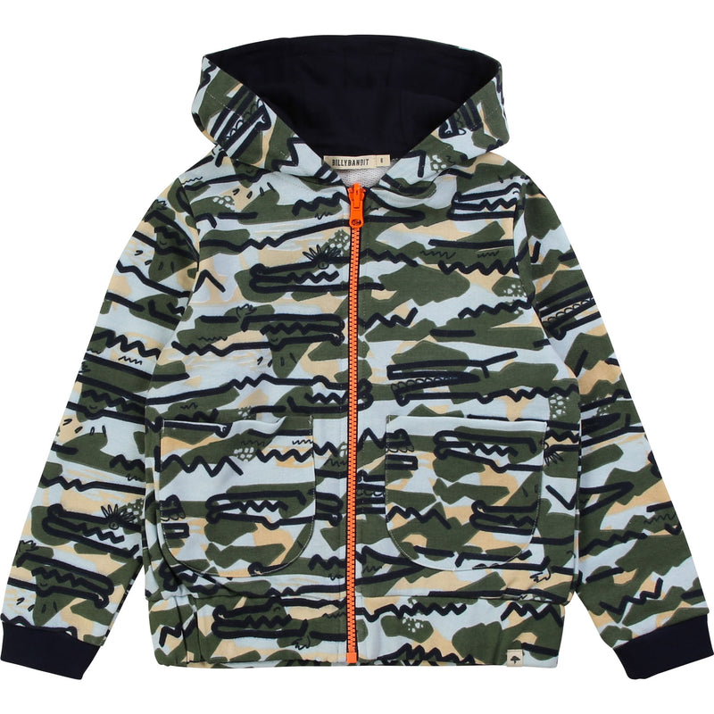 ench terry hooded jacket with camouflage allover print featuring a distinctive crocodile pattern. Designed by Billybandit, a quirky fashion label brimming with character and playful off-beat vibes.