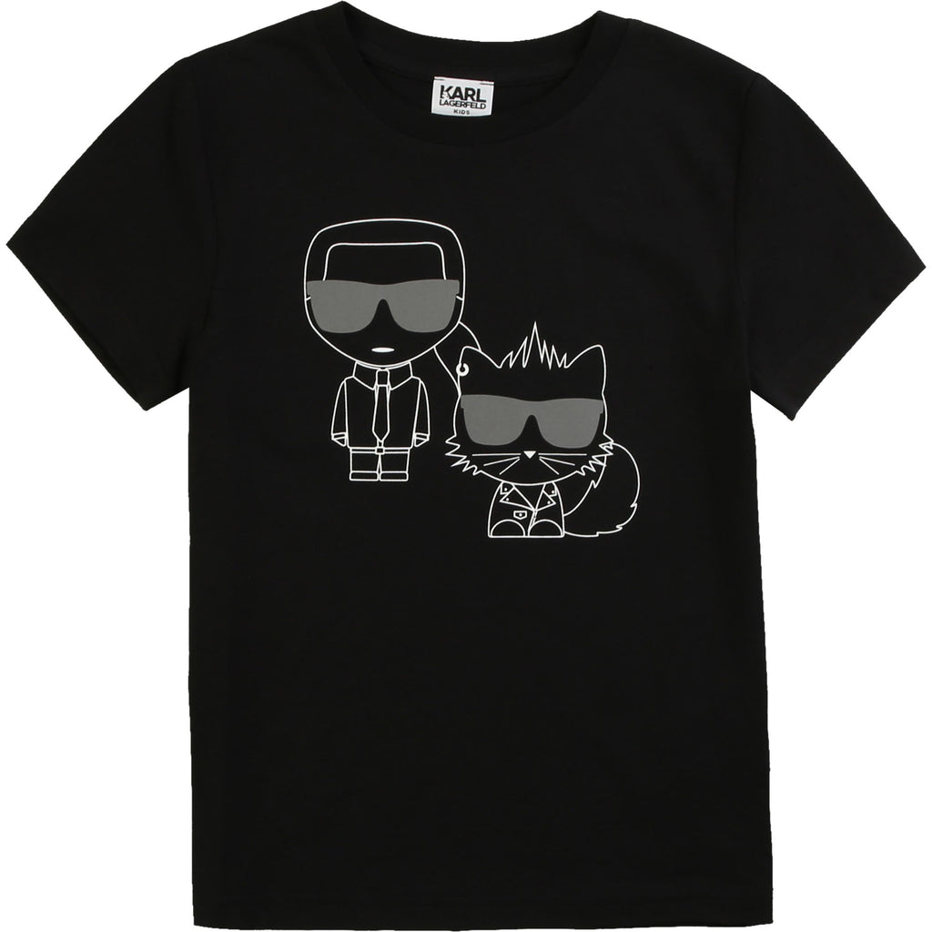 "Black jersey cotton t-shirt with a fun white Karl and his cat ""Choupette"" print on the front and back."