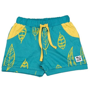 Doodle Do fun turquoise color shorts made in GOTS-certified organic cotton fabric. Yellow contrast pockets, drawstrings, and feather leaf print design.