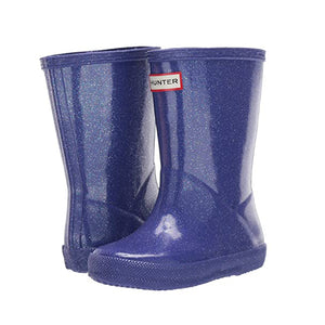 Hunter's classic rain boots with glittery star cloud blue.
