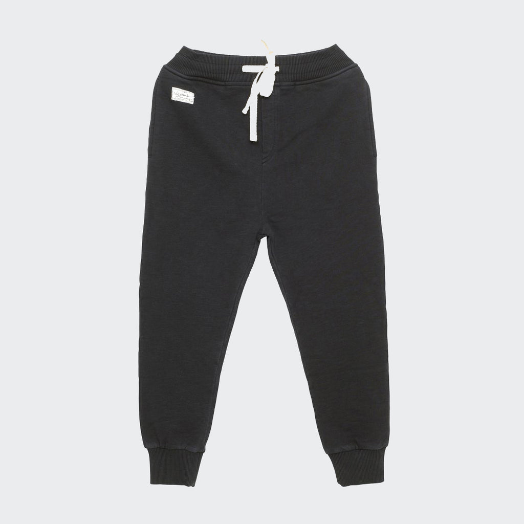 I dig denim black comfort fit sweatpants with ribbed waistband and ribbed ankle cuffs. Drawstring waistband. Children's pants.