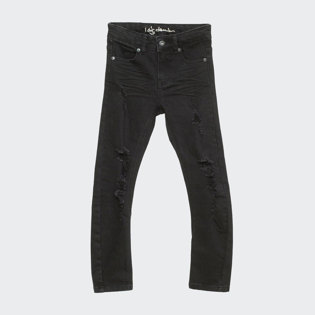 Black jeans with comfrotable shaping and ripped jean style. Slim fit. I dig denim brand