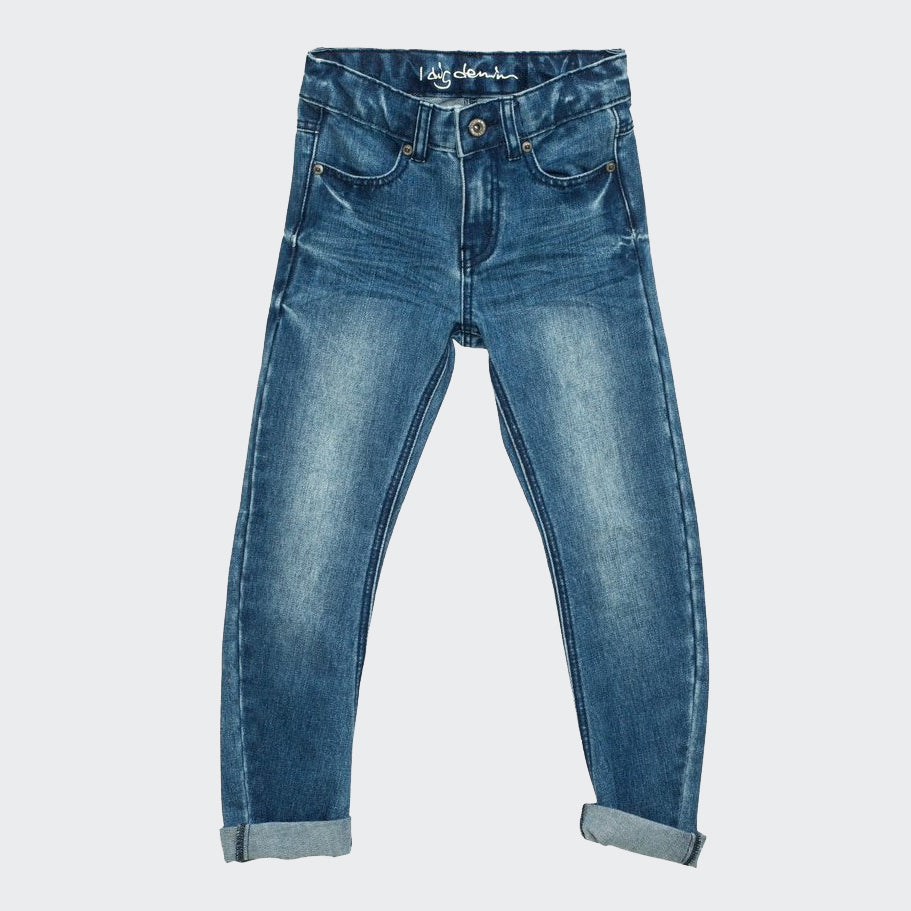 Children's I dig denim jeans in blue, with rolled up hem, and comfortable leg shaping.