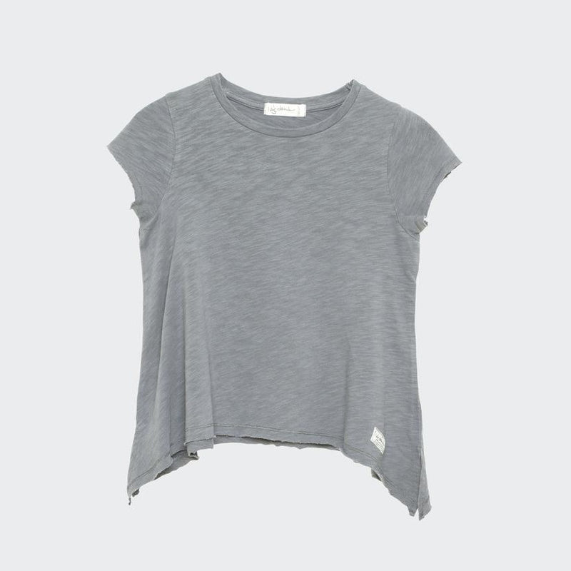 Children's short sleeve t-shirt with wide flowing draped hem.. Raw sleeve edges and raw hem edge. Light weight stone grey jersey fabric