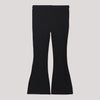 Children's black stretchable jean pants with flare calfs.
