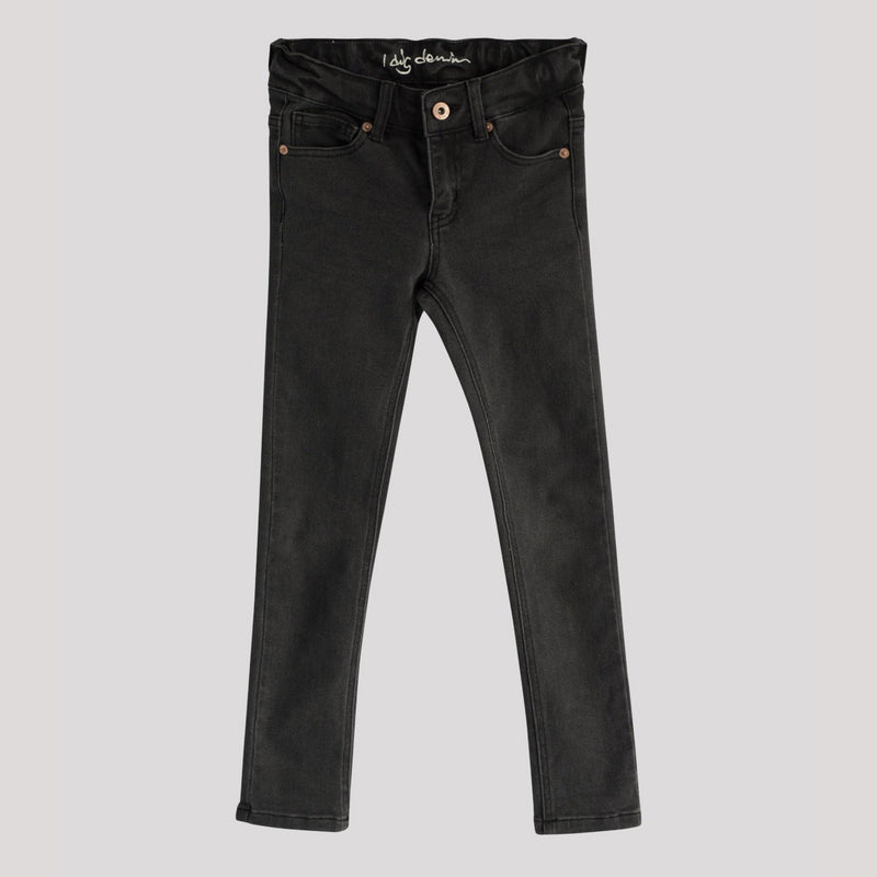 Children's I dig denim black slim fit jeans with rose gold color metal notions.