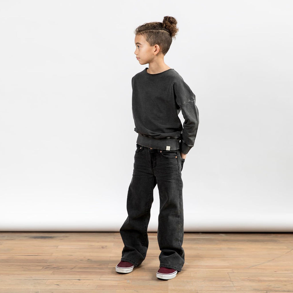 Children's I dig denim wide leg baggy black jeans.