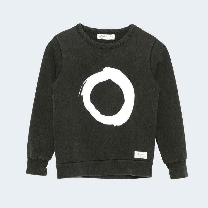 Children's I dig denim black sweatshirt with white brushed circle print.
