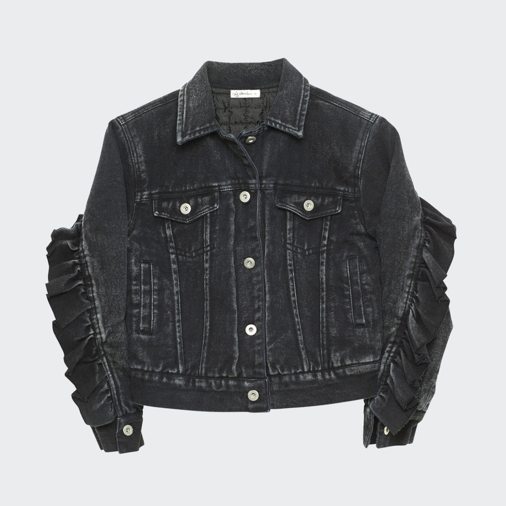 Children's I dig denim jean jacket in black washed color. Ruffle details across the sleeves and back.