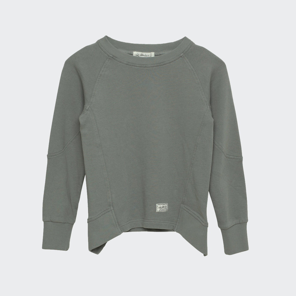 Children's I dig denim sweatshirt in dark grey. Drape style hem with ribbed side panels.