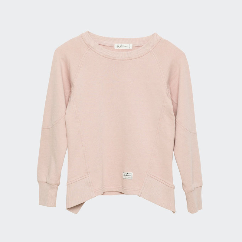 Children's I dig denim sweatshirt in light pink. Drape style hem with ribbed side panels.