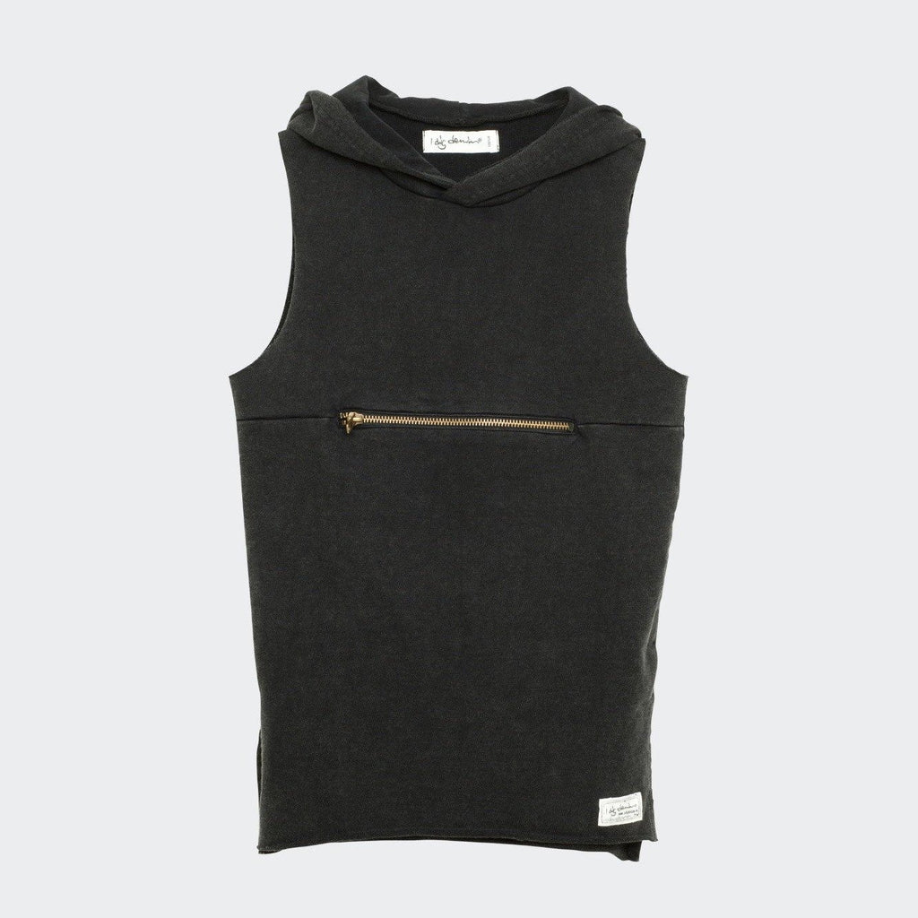 Children's I dig denim black fleece sleeveless top with hood. Zipper details horizontally across the chest. Side slits by the hem.
