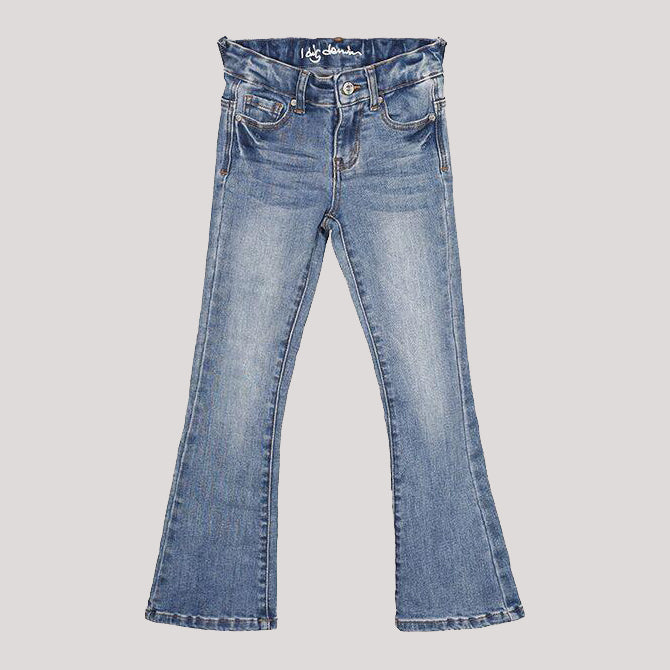 Girl's I dig denim light blue jeans in trumpet style. flare at the calf.