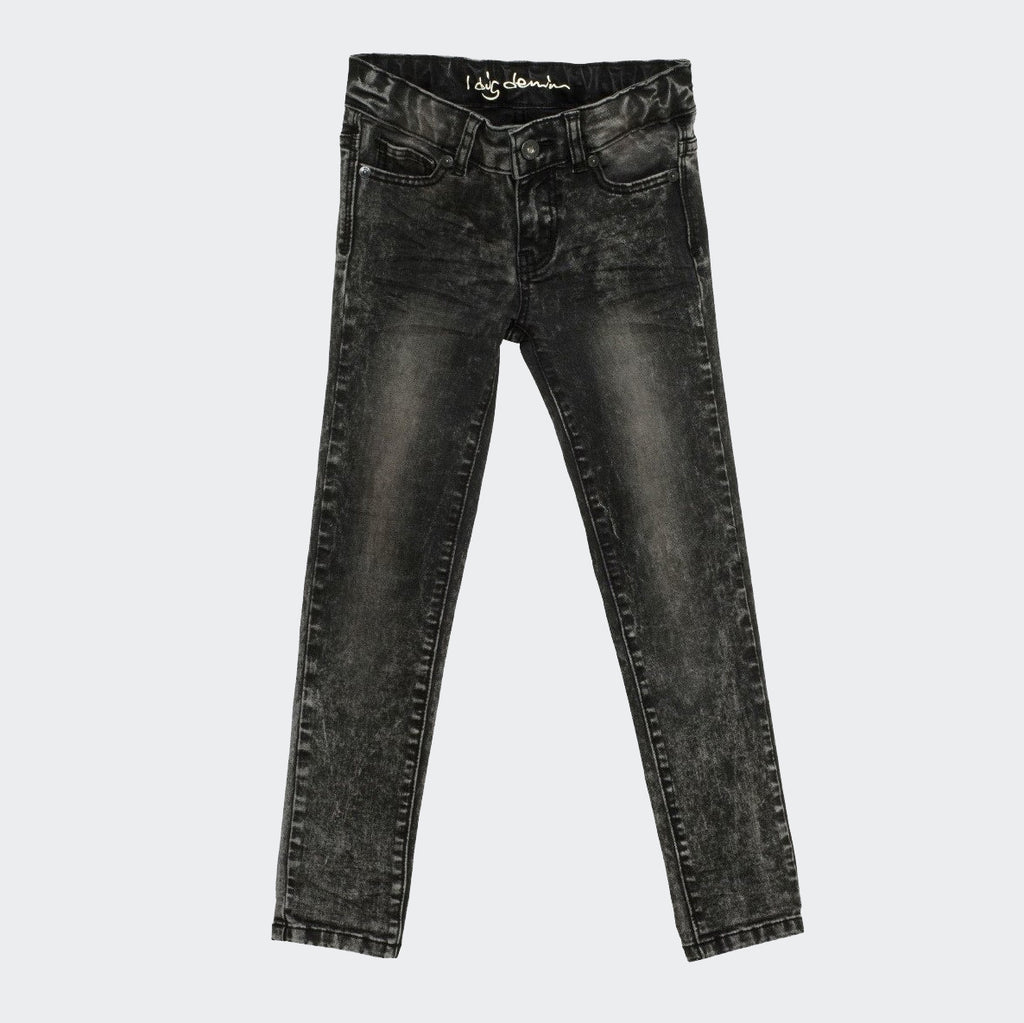 Children's black washed forest paint jeans. slim fit. from I Dig Denim brand.
