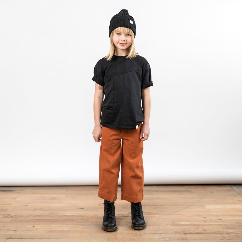 Children's I dig denim wide straight rust brown jeans. Above ankle length.