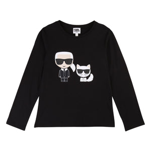 Unisex sweatshirt for all the cool kids. Stylish black sweatshirt featuring cartoon avatar of fashion designer Karl Lagerfeld and his treasured cat, Chopette.