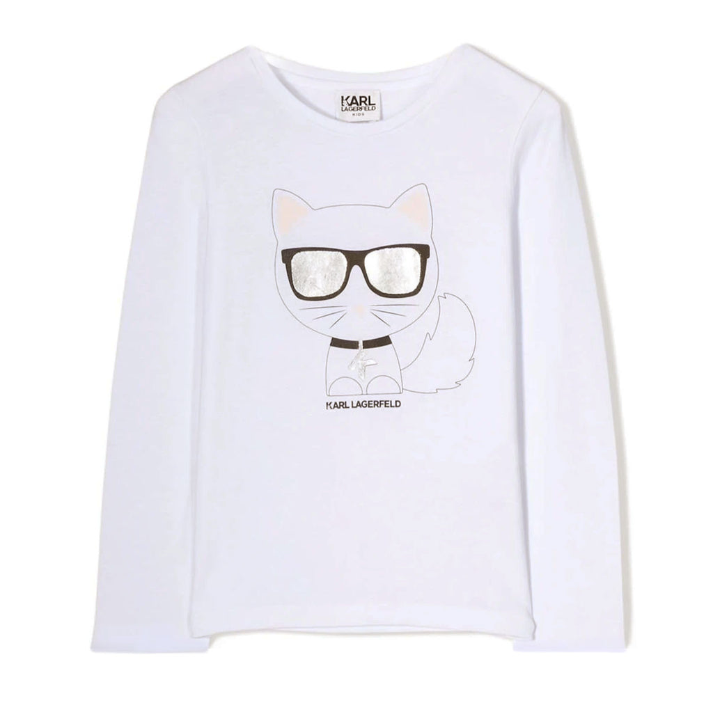 White long sleeve shirt featuring fashion designer Karl Lagerfield's iconic cat, Choupette with reflective sunglasses at the front.