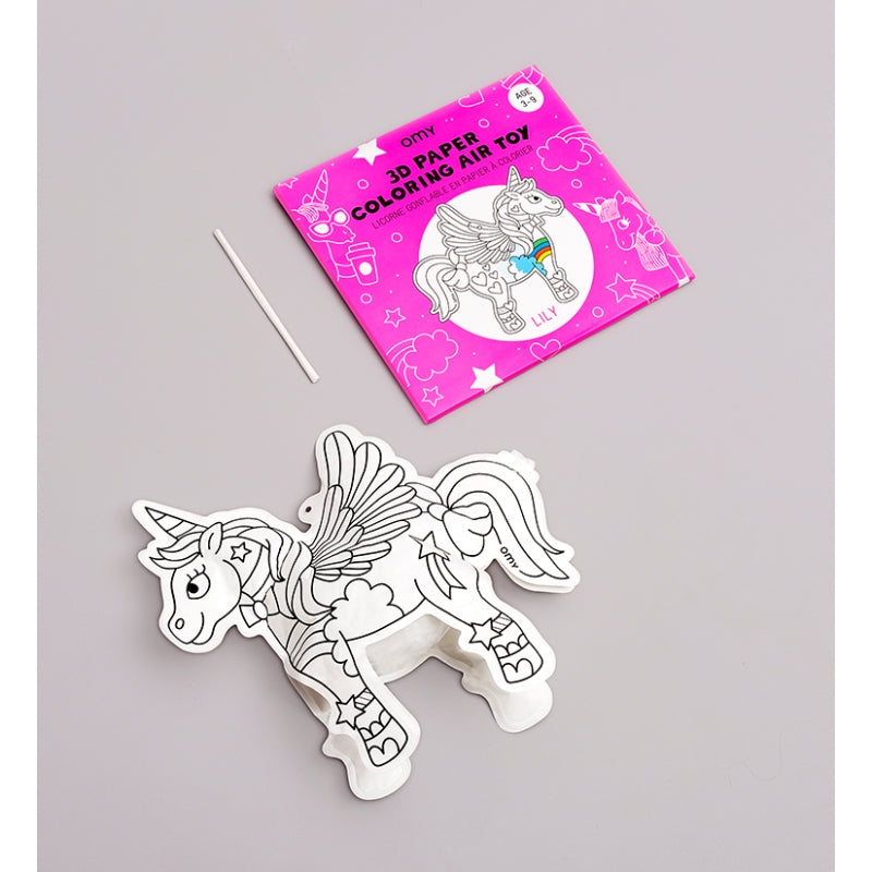 3D Paper Unicorn Coloring Air Toy