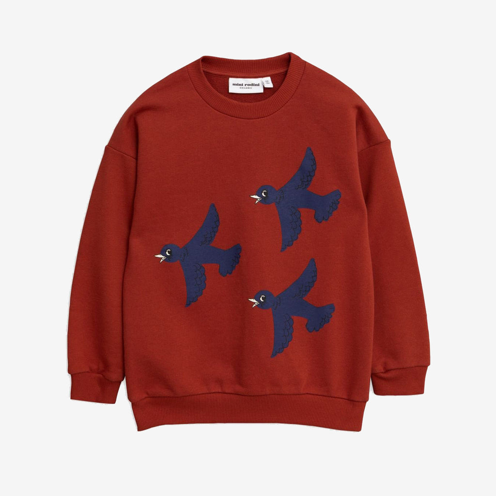 Deep red color sweatshirt with three navy blue birds flying at the front.