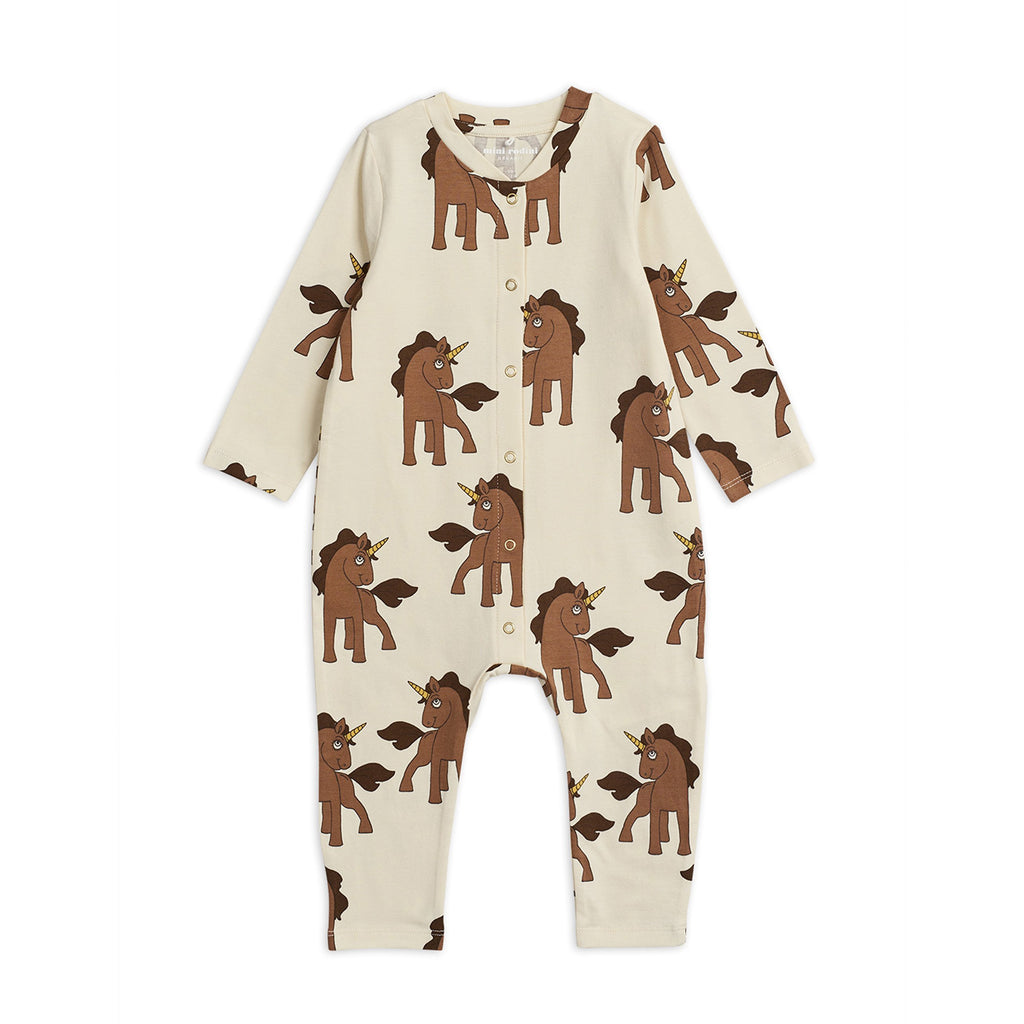 Organic cotton jumpsuit with comfort stretch and an all-over unicorn print. Styled with long sleeves, press buttons at the front for easy dressing.