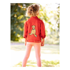 Girls' red denim jacket giving off an 80s vintage vibe with an adorable bear embroidery at the back.