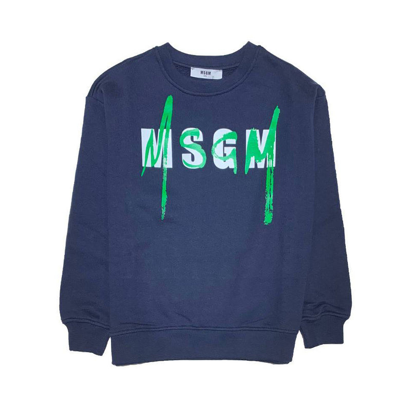 Simple long sleeve crew neck with a MSGM logo stamp design simulating green brush strokes.