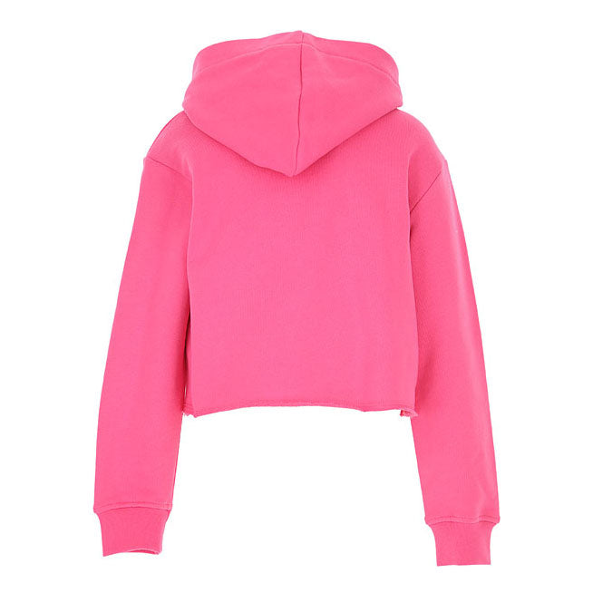 Pink Graphic Logo-Print Hooded Cropped Top Sweatshirt