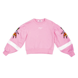 Fashionable loose pink sweatshirt with palm tree embroidery on the sleeve side.