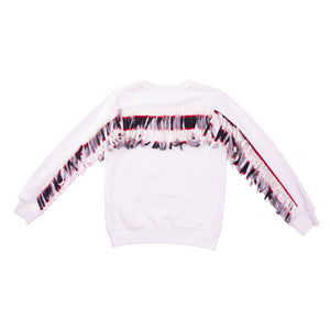 White cotton lose fit sweatshirt with a one of a kind striped fringe across the back