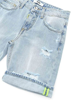 Pale Blue Distressed Denim Shorts